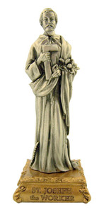 Pewter Saint St Joseph the Worker Figurine Statue on Gold Tone Base, 4 1/2 Inch