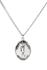 Ladies Pewter Saint Christopher Sports Athlete Medal, 7/8 Inch - Volleyball