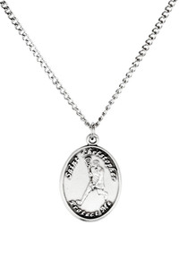 Ladies Pewter Saint Christopher Sports Athlete Medal, 7/8 Inch - Lacrosse