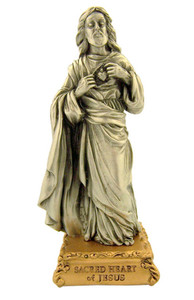 Pewter Sacred Heart of Jesus Figurine Statue on Gold Tone Base, 4 1/2 Inch