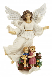 Guardian Angel with Children Resin Wall Plaque Figurine, 8 Inch