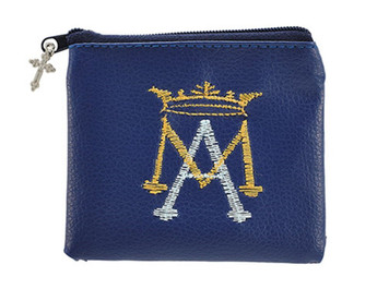 Blue Ave Maria Embroidered Rosary Case with Silver Tone Crucifix Medal, 3 1/4 Inch