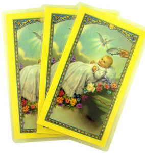 Laminated Baby's Baptism with Holy Spirit Holy Card with Prayer on Back, Pack of 3