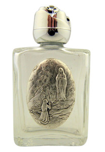 Glass Holy Water Bottle with Silver Tone Our Lady of Lourdes Medal and Rosebud Lid