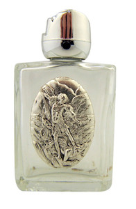 Glass Holy Water Bottle with Silver Tone Saint Michael Medal and Rosebud Lid