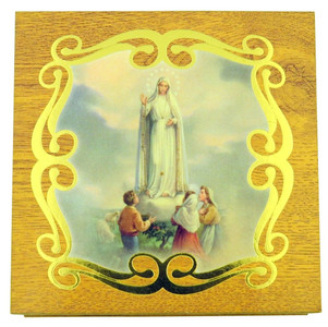 Gold Embossed Our Lady of Fatima Icon on Felt Lined Natural Wood Rosary Box