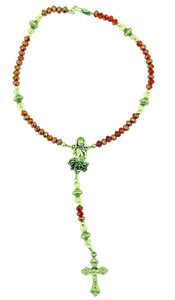 Divine Mercy One Decade Auto Rosary with Red Acrylic Prayer Beads, 9 Inch