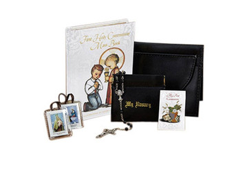 Boys First Communion Set with Mass Book Scapular Lapel Pin Rosary and Wallet