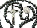 "Hematite 6mm Beads 12"" Corded Hand Bible Rosary Saint St Benedict Medal Center"