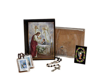 First Communion Mass Book Scapular Rosary Lapel Pin and Wallet Set for Boys