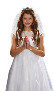 Girls First Communion White Satin and Tulle Veil with Crystal Tiara, 26 Inch