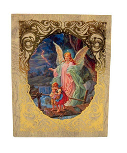 Gold Embossed Guardian Angel Icon on Felt Lined Natural Wood Rosary Box