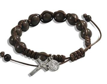 "Saint Benedict Medal Crucifix Charm 7 1/2"" Adjustable Brown Cord Rosary Bracelet"