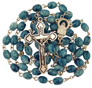 Light Blue Marbleized Glass Bead Our Lady of Grace Rosary, 23 1/2 Inch