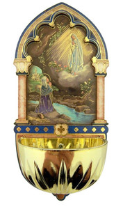 Our Lady of Lourdes Gold Embossed Laser Cut Wood Multi-Dimensional Water Font