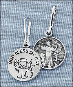 GOD BLESS MY CAT - Saint Francis Charm, Tag - with Prayer Card from Fantasy Farm