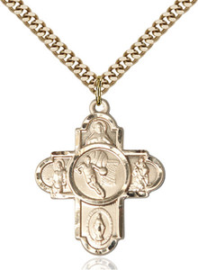 14KT Gold Filled Five-Way Basketball Sports Athlete Medal, 1 Inch