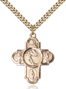 14KT Gold Filled Five-Way Ice Hockey Sports Athlete Medal, 1 Inch
