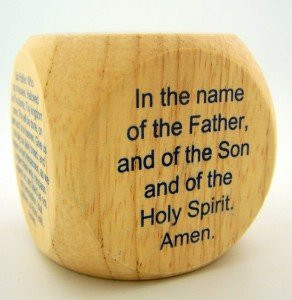 """PLC 2"""" Kids Wood Catholic Prayer Rosary Cube Our Father Hail Mary"""