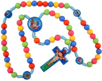 """Child Saint Multi Color Prayer Beads with Nativity Centerpiece 15"""" Cord Rosary for Kids"""
