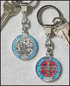 Patron Saint St Benedict of Nursia Medal Silver Tone with Red Blue Enamel Pendant Keychain