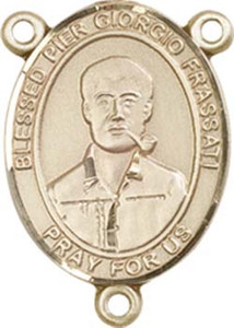 14KT Gold Filled Blessed Pier Giorgio Frassati Rosary Centerpiece Medal, 3/4 Inch