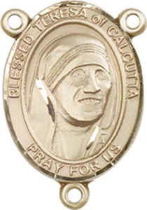 14KT Gold Filled Blessed Teresa of Calcutta Rosary Centerpiece Medal, 3/4 Inch