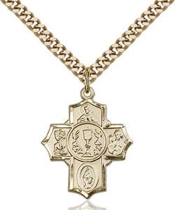 14KT Gold Filled First Communion Five-Way Medal Millennium Crucifix, 7/8 Inch