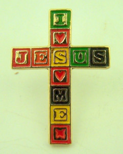 Gold Tone and Enamel Jesus Loves Me Blocks Cross Lapel Pin, 1 Inch