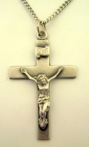 Pewter Catholic Cross Crucifix with Our Father Prayer Back, 1 3/4 Inch