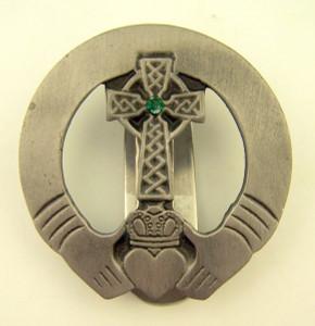 Pewter Irish Claddagh with Celtic Cross Auto Visor Clip, 2 Inch
