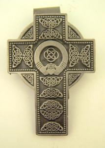 Pewter Irish Celtic Cross with Claddagh Center Auto Visor Clip, 2 Inch