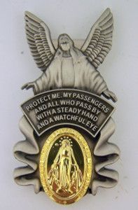 Pewter Guardian Angel with Our Lady of Grace Medal Visor Clip, 2 Inch