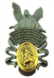Pewter Guardian Angel with Saint Christopher Medal Visor Clip, 2 Inch