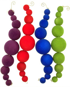 Assorted Color Round Hanging Christmas Ornament, 10 Inch, Pack of 4