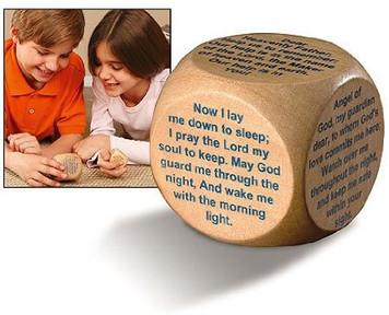 "PLC 1 1/2"" Wood Childrens Kids Sunday School Church Bedtime Prayers Cube"