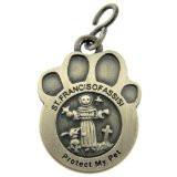 "Saint St Francis of Assisi 1 1/2"" Pewter Catholic Dog Cat Pet Protection Medal"