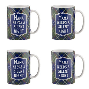 Holiday Plaidness Mama Needs a Silent Night Ceramic Christmas Mug, 16 oz, Set of 4