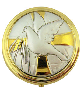 Gold and Silver Tone Holy Dove Confirmation Pyx with Locking Hinge and Liner, 2 Inch