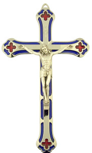 Blue and Red Enamel Salerni Cross Crucifix with Silver Tone Corpus (7 Inch)