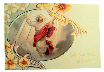 The Ascension of Jesus Gold Embossed Easter Greeting Cards with Envelopes, Pack of 10