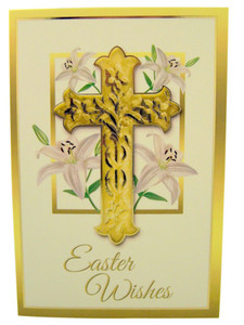 Easter Lillies with Crucifix Gold Embossed Easter Greeting Cards with Envelopes, Pack of 10