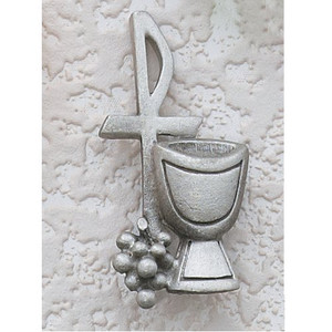 Chi Rho Cross with Chalice and Grapes 1 1/2-inch Pewter Lapel Pin
