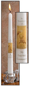 """Eternal Salvation My First Holy Communion Catholic Service Ceremony 10"""" Wax Taper Candle with Decal"""