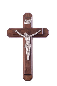 Pastoral Sick Call Set Walnut Wood and Antique Finish Pewter Corpus Crucifix, 13 Inch