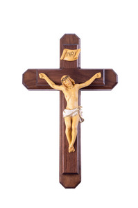 Pastoral Sick Call Set Walnut Wood and Natural Finished Corpus Crucifix, 13 Inch