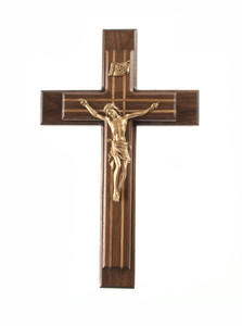 Pastoral Sick Call Set Walnut and Oak Inlay Crucifix with Gold Toned Corpus, 13 Inch