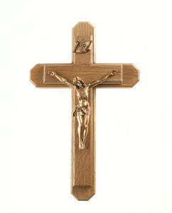 Pastoral Sick Call Set Oak Wood Crucifix with Gold Tone Christ Corpus, 13 Inch