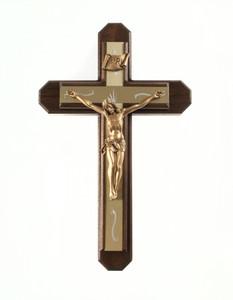 Pastoral Sick Call Set Walnut Wood with Gold Tone Metallic Inlay Cross Crucifix, 13 Inch