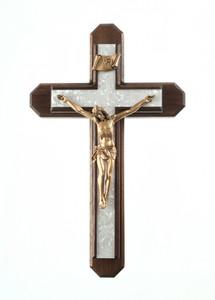 Pastoral Sick Call Set Walnut Wood with Pearlized Epoxy Inlay Cross Crucifix, 13 Inch